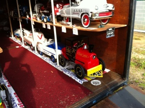 Restored pedal cars.
